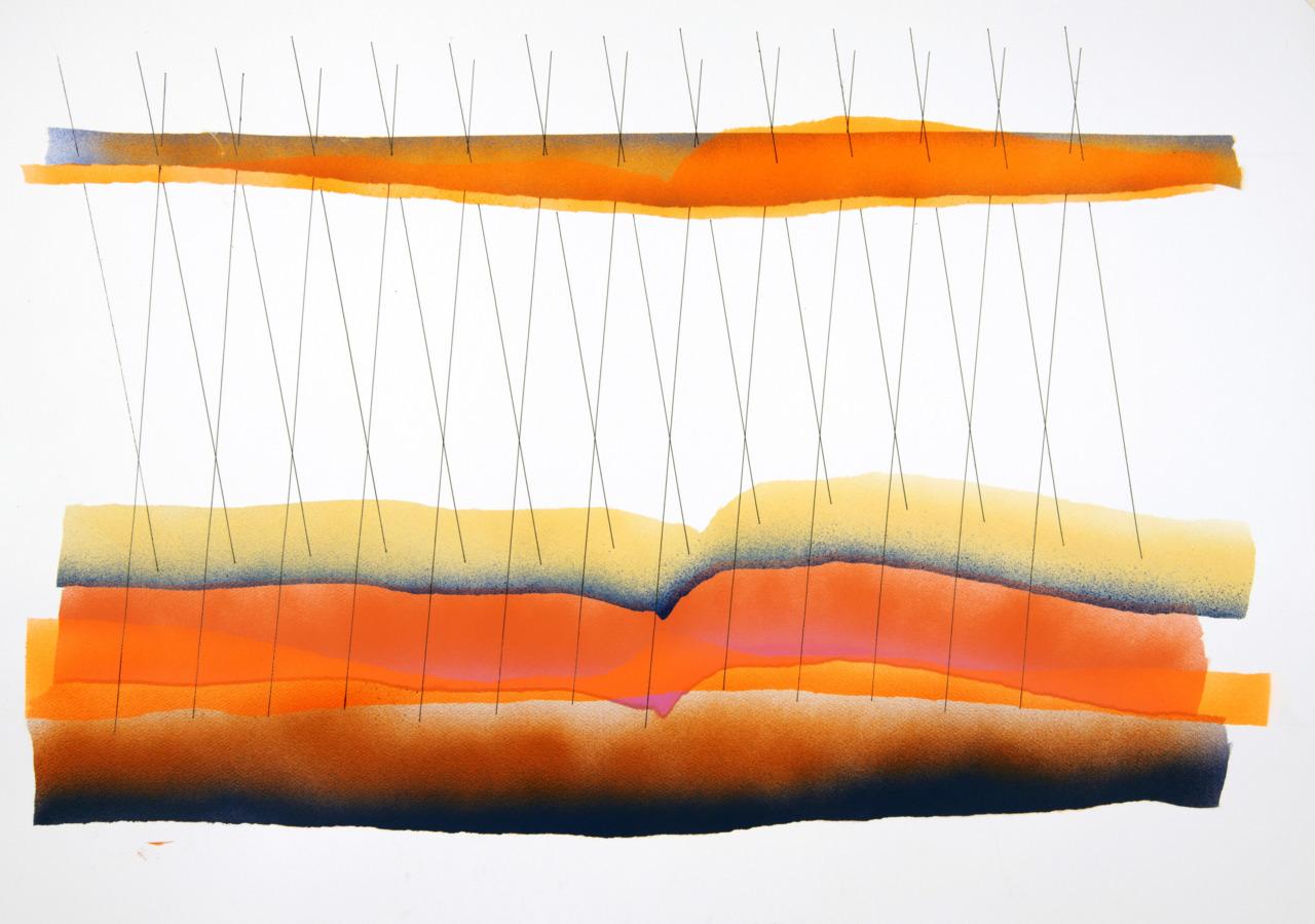 Gyula Sagi acrylic on paper, organic abstract, velocity analysis.