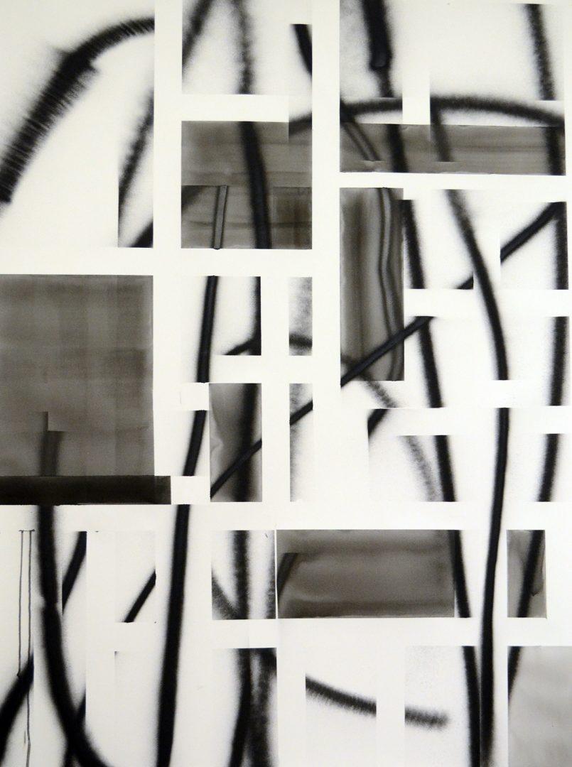 Op.221217. ink, spray on paper, 150x115cm
